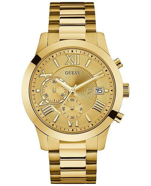 afd61ca6f ... GUESS Men's Chronograph Gold-Tone Stainless Steel Bracelet Watch 45mm  U0668G4 ...