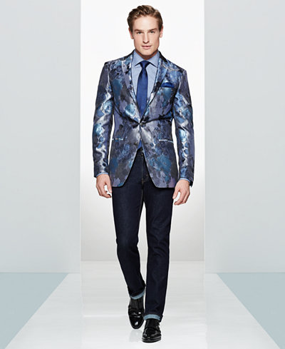 Tallia Men's Slim-Fit Blue Silver Floral Sport Coat & Cambridge Solid Tie