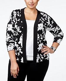 Plus Size Jacquard-Knit Floral Cardigan