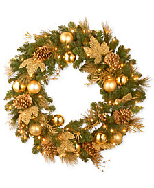 """National Tree Company 36"""" Decorative Collection Elegance Wreath with 100 Clear Lights"""