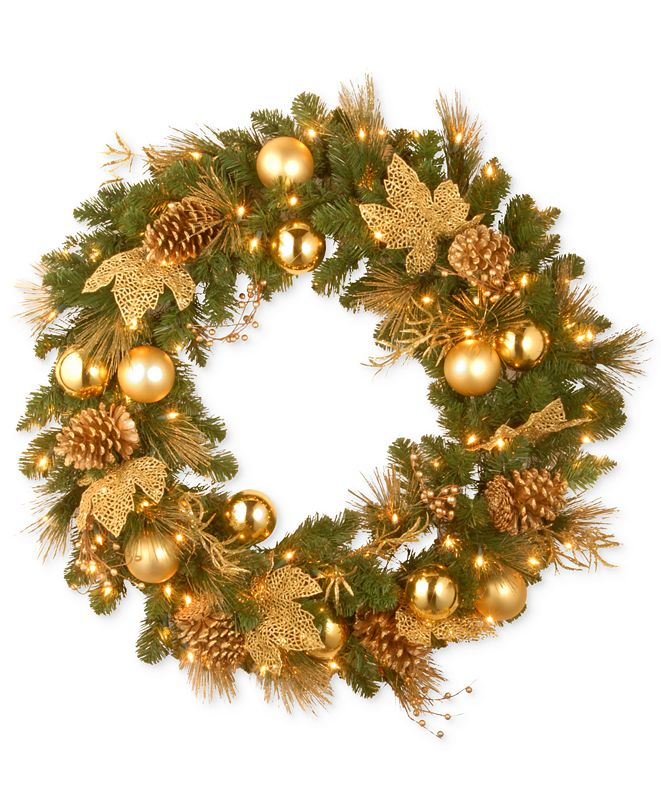 """National Tree Company National Tree Company 36"""" Decorative Collection Wreath with 100 Clear Lights"""