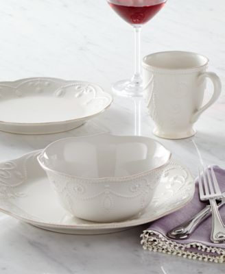 French Perle White 12-PC Dinnerware Set, Service for 4