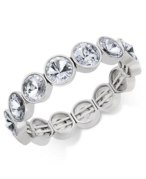Charter Club Bezel-Set Crystal Stretch Bracelet, Created for Macy's