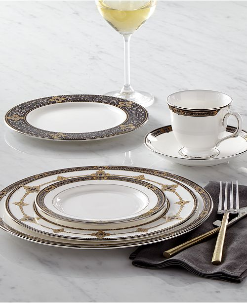 The Vintage Jewel Dinnerware And Dishes Pattern By Lenox Combines Pure White Bone China With A Dark Richly Patterned Band Of Muted Gold Taupe