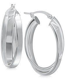 Crisscross Angled Hoop Earrings in Sterling Silver