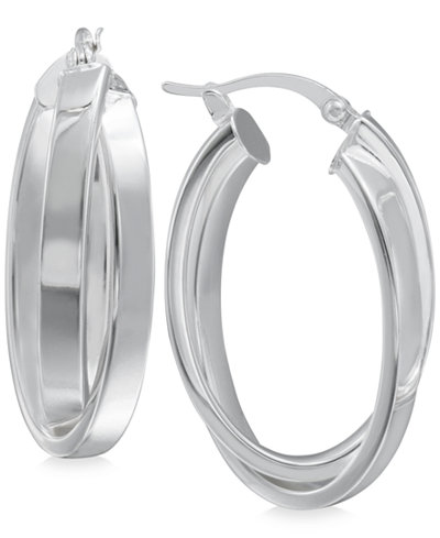 Crisscross Angled Hoop Earrings in Sterling Silver
