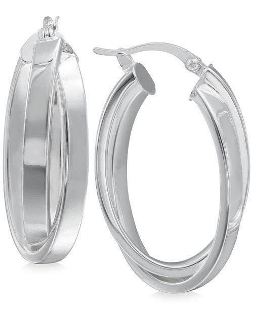 Macy's Crisscross Angled Hoop Earrings in Sterling Silver