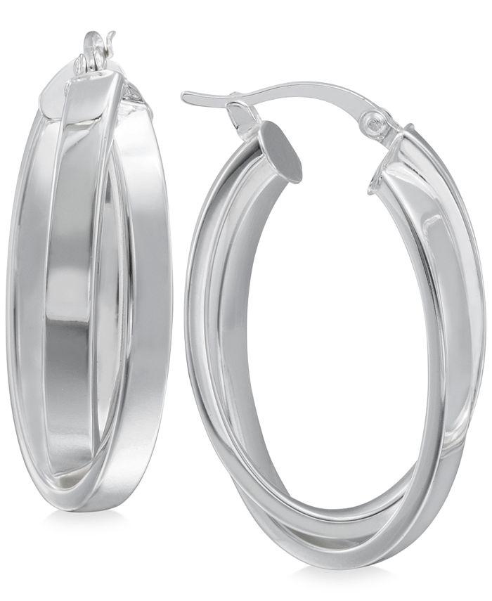 Macy's - Crisscross Angled Hoop Earrings in Sterling Silver