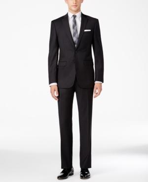 Calvin Klein Men's X-Fit Neat Charcoal Slim Fit Suit