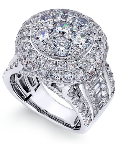 Diamond Cluster Engagement Ring (5 ct. t.w.) in 14k White Gold