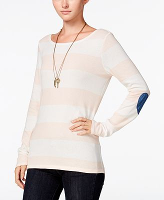 Maison Jules Striped Elbow-Patch Top, Created for Macy's
