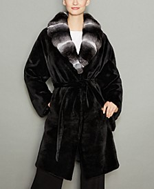 Chinchilla-Fur-Collar Mink Fur Coat
