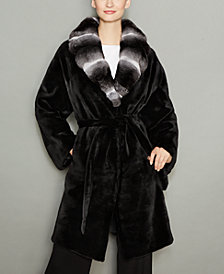 The Fur Vault Chinchilla-Fur-Collar Mink Fur Coat