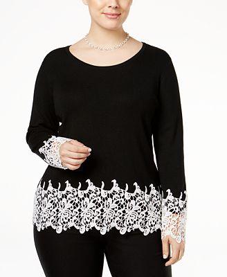 INC International Concepts Plus Size Lace-Appliqué Top, Only at Macy's