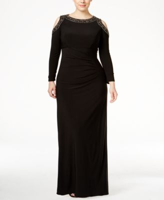 XSCAPE Plus Size Beaded Cold-Shoulder Gown