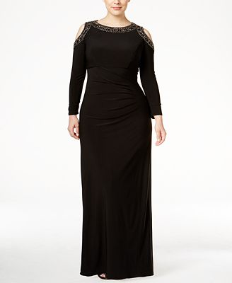 XSCAPE Plus Size Beaded Cold-Shoulder Gown - Dresses - Women - Macy\'s