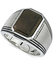 Esquire Men's Jewelry Meteorite (20 x 17mm) and Diamond (1/10 ct. t.w.) Ring in Sterling Silver, Created for Macy's