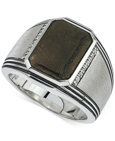 esquire mens jewelry meteorite 20 x 17mm and diamond 1