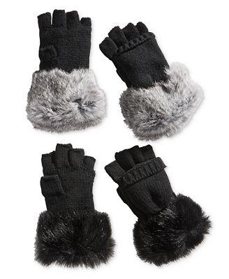 Surell Rabbit Fur and Knit Flip-Top Mittens