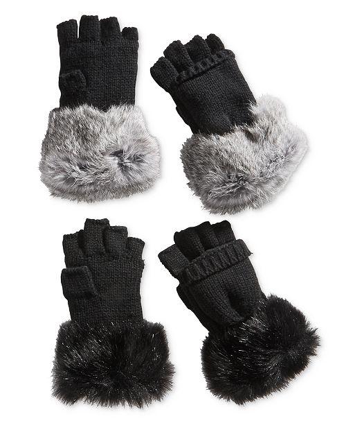 ee3912a70777 Surell Rabbit Fur And Knit Flip Top Mittens Handbags Accessories