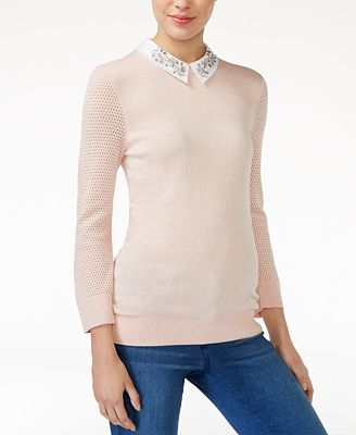 Maison Jules Embellished Collar Sweater, Created for Macy's ...