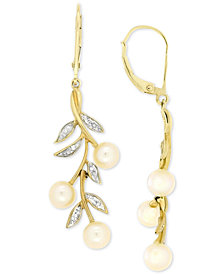 Cultured Freshwater Pearl (5mm) and Diamond Accent Drop Earrings in 14k Gold
