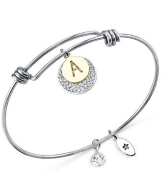 Image of Unwritten Pavé and initial Disc Bangle Bracelet in Stainless Steel and Silver-Plate
