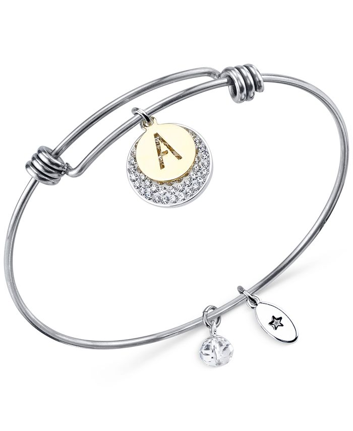 Unwritten - Pavé and initial Disc Bangle Bracelet in Stainless Steel and Silver-Plate