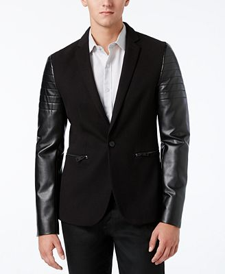 GUESS Men's Harlan Leather-Sleeve Blazer - Blazers & Sport Coats ...