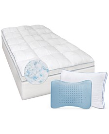 Gel-Infused Twin XL Memory Foam and Fiber Mattress Topper and MemoryLOFT Deluxe Gel-Infused Pillow Set