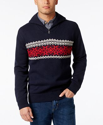 Weatherproof Men's Quarter-Zip Fair Isle Sweater, Classic Fit ...