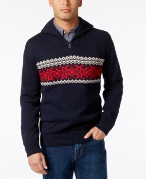 Men's Vintage Style Sweaters – 1920s to 1960s Weatherproof Mens Big and Tall Quarter-Zip Fair Isle Sweater $31.99 AT vintagedancer.com