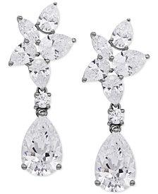 Arabella Swarovski Zirconia Cluster Drop Earrings in Sterling Silver