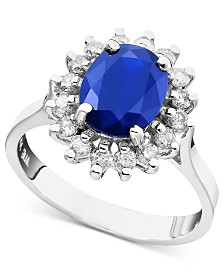Royalty Inspired by EFFY Sapphire (1-9/10 ct. t.w.) and Diamond (3/8 ct. t.w.) Oval Ring in 14k White Gold