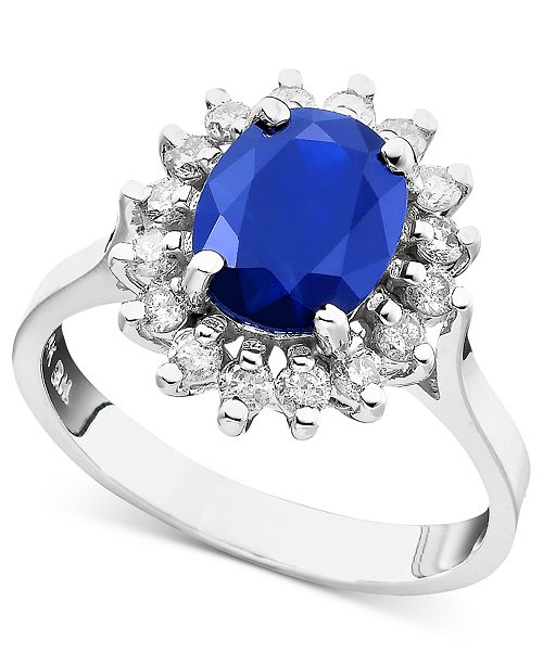 EFFY Collection Royalty Inspired by EFFY Sapphire (1-9/10 ct. t.w.) and Diamond (3/8 ct. t.w.) Oval Ring in 14k White Gold