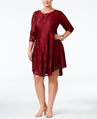 American Rag Trendy Plus Size Lace Up Lace Dress Created For Macys