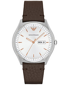 Emporio Armani Men's Dark Brown Leather Strap Watch 43mm AR1999