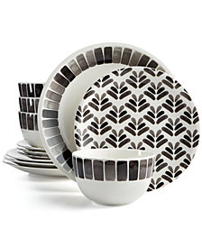 Martha Stewart Collection Heirloom 12-Pc. Black Dinnerware Set, Created for Macy's