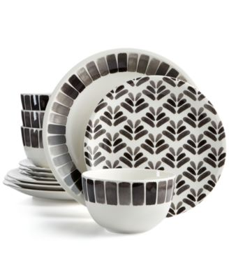 Martha Stewart Collection Heirloom 12-Pc. Black Dinnerware Set Created for Macy\u0027s  sc 1 st  Macy\u0027s : white and black dinnerware - pezcame.com
