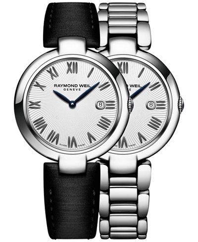 RAYMOND WEIL Women's Swiss Shine Black Satin Strap Watch & Interchangeable Stainless Steel Bracelet 32mm 1600-ST-00659