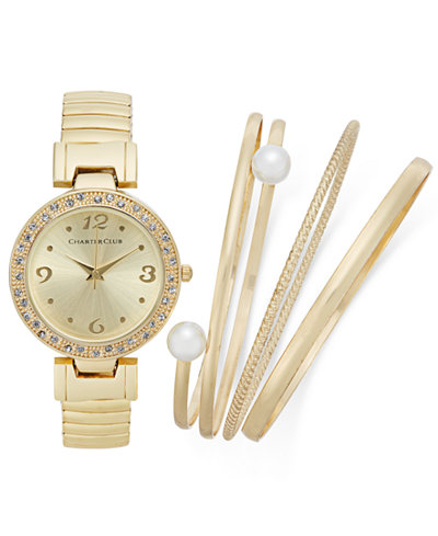 Charter Club Women's 4-Pc. Watch (34mm) and Bracelet Set, Only at Macy's