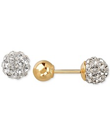 Children's Swarovski Crystal Fireball and Gold Ball Reversible Stud Earrings in 14k Gold
