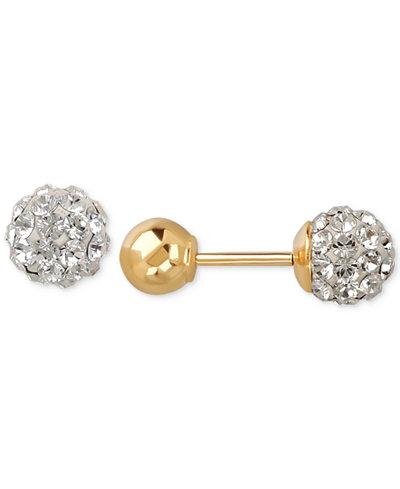 Children's Swarovski Crystal Fireball and Gold Ball Reversible Stud Earrings in 14k Gold