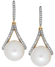 Freshwater Pearl (9mm) and Diamond (1/5 ct. t.w.) Drop Earrings in 14k Gold
