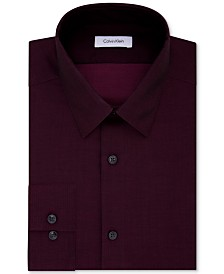 Calvin Klein STEEL Men's Slim-Fit Non-Iron Performance Herringbone Point Collar Dress Shirt
