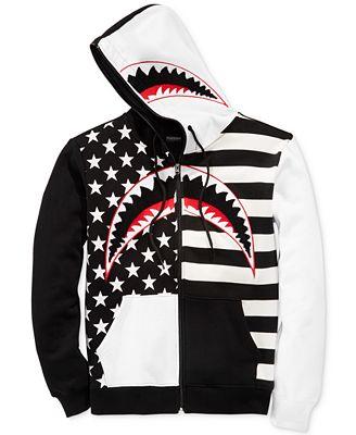 Hudson NYC Men's American Flag Shark Hoodie