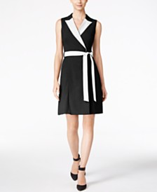 Calvin Klein Colorblocked Wrap Dress