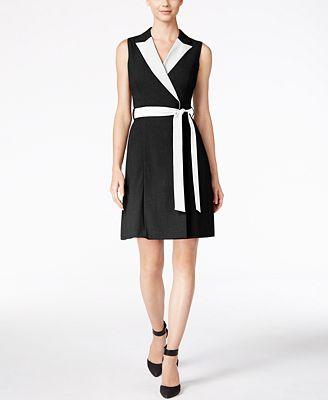 Calvin Klein Petite Colorblocked Wrap Dress Dresses Women Macy S