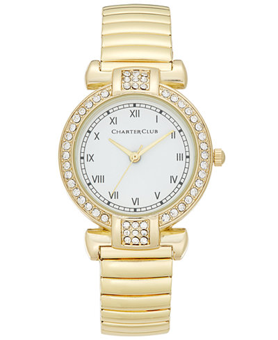 Charter Club Women's Gold-Tone Pav� Stretch Bracelet Watch 30mm, Only at
