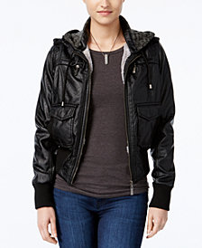 Jou Jou Juniors' Faux-Fur Hooded Jacket, Created for Macy's
